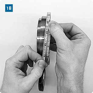 Measuring the outside flange diameter using a Tape Rule or Pi Tape Rule