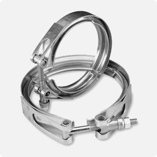 V-Band Clamps/Couplings with 300 series stainless steel bands and retainers
